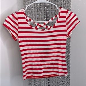 Pink & White Striped T-Shirt -Small